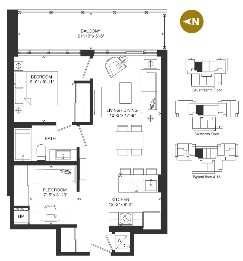 Bowery Condo Floorplan - F-1