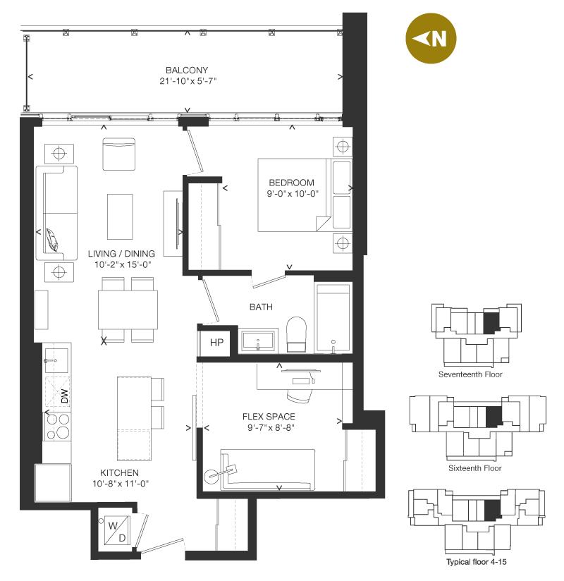 Bowery Condo Floorplan - F-2