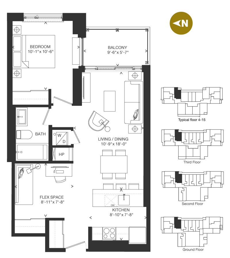 Bowery Condo Floorplan - F-3