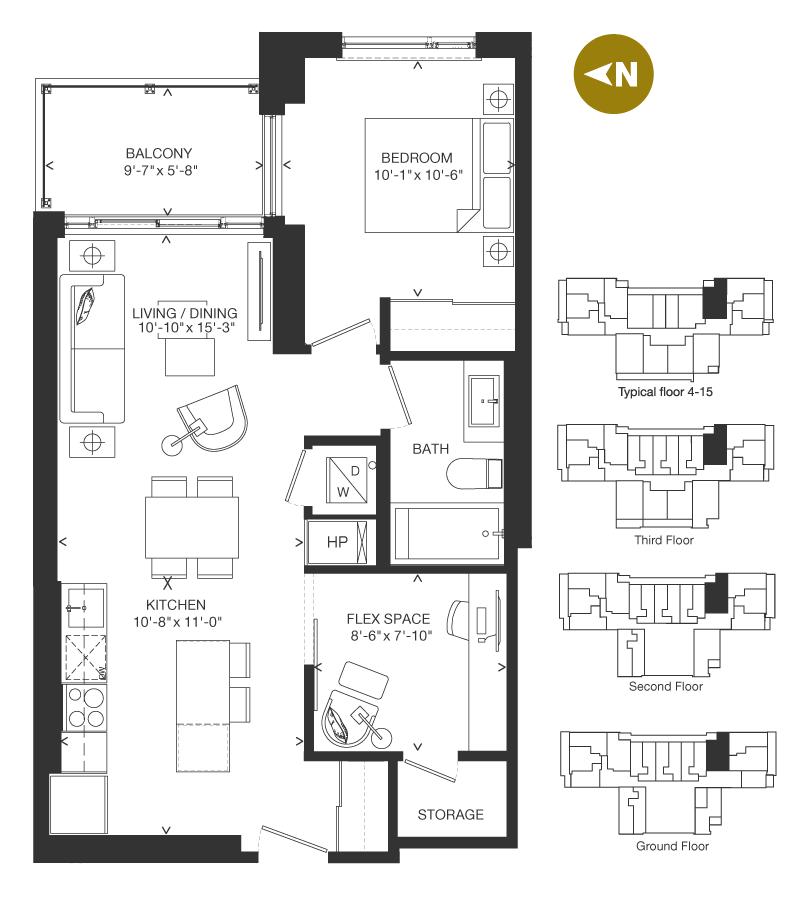 Bowery Condo Floorplan - F-4