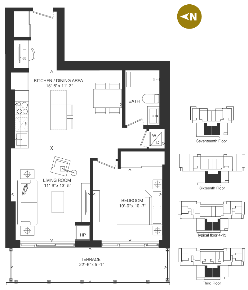 Bowery Condo Floorplan - O-7