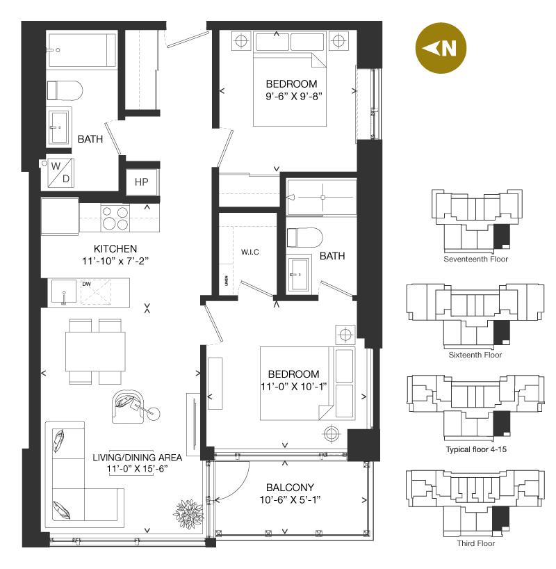 Bowery Condo Floorplan - T-1